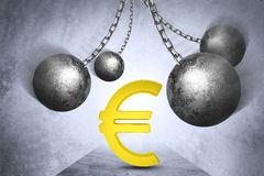 Ball and chain with euro sign Royalty Free Stock Photo