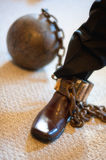 Ball & Chain. A groom getting into his ball and chain Stock Images
