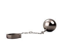 Ball and chain isolated Royalty Free Stock Images