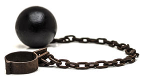 Ball and chain with low depth of field. On white background stock image