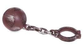 Ball and chain over white Royalty Free Stock Photos