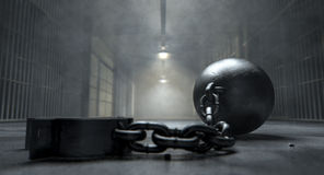Ball And Chain In Prison stock illustration