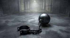 Ball And Chain In Prison Royalty Free Stock Photos