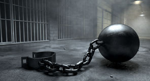 Ball And Chain In Prison Royalty Free Stock Photo