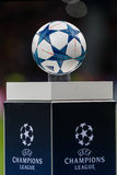 The ball of the Champions League on a pedestal close-up during t Stock Images