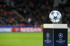 The ball of the Champions League on a pedestal close-up during t Royalty Free Stock Photo