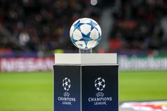The ball of the Champions League on a pedestal close-up during t Stock Photography