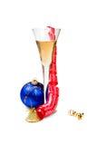 Ball christmas and glass of wine Royalty Free Stock Image