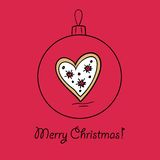 Ball with Christmas heart. Christmas ball dingerbread heart. Vector illustration. You can use it  for design of greeting card Stock Photos