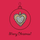 Ball with Christmas heart. Christmas ball with heart. Vector illustration. You can use it  for design of greeting card Stock Photography