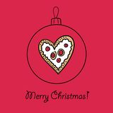 Ball with Christmas heart. Christmas ball with heart. Vector illustration. You can use it  for design of greeting card Stock Photos
