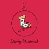 Ball with Christmas sock. Christmas ball with Christmas sock. Vector illustration. You can use it  for design of greeting card Stock Photography