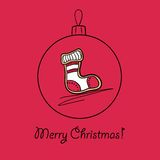 Ball with Christmas sock. Christmas ball with Christmas sock. Vector illustration. You can use it  for design of greeting card Royalty Free Stock Image