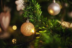 Ball on the Christmas tree. background. The concept of Christmas Stock Image