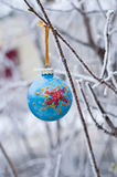 Ball on the Christmas tree Christmas toy. Blue ball on the Christmas tree Christmas toy hanging on a branch Royalty Free Stock Photos