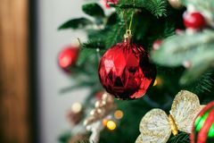 Ball on the Christmas tree. The concept of Christmas and New Yea Royalty Free Stock Photos