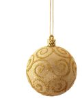 Ball - christmas tree decoration. Golden christmas ball isolated over vhite background stock image