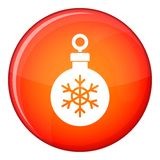 Ball for the Christmas tree icon, flat style. Ball for the Christmas tree icon in red circle isolated on white background vector illustration Royalty Free Stock Image