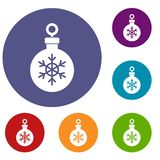 Ball for the Christmas tree icons set. In flat circle reb, blue and green color for web Royalty Free Stock Images