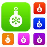 Ball for the Christmas tree set collection. Ball for the Christmas tree set icon in different colors isolated vector illustration. Premium collection Stock Image
