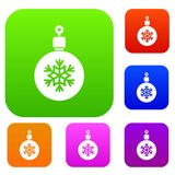 Ball for the Christmas tree set collection. Ball for the Christmas tree set icon in different colors  vector illustration. Premium collection Royalty Free Stock Photos