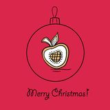 Ball with Christmas wreath. Christmas ball with Christmas wreath. Vector illustration. You can use it  for design of greeting card Stock Image