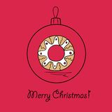 Ball with Christmas wreath. Christmas ball with Christmas wreath. Vector illustration. You can use it  for design of greeting card Stock Photo