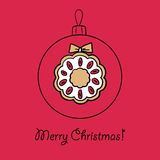 Ball with Christmas wreath. Christmas ball with Christmas wreath. Vector illustration. You can use it  for design of greeting card Stock Images