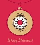 Ball with Christmas wreath. Christmas ball with Christmas wreath. Vector illustration. You can use it  for design of greeting card Stock Photography