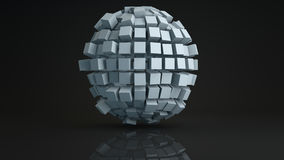 Ball cluster of cubes deformed 3D render Royalty Free Stock Images