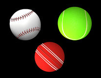 Ball collection - tennis-ball, cricket, baseball Stock Images