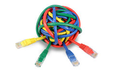 Ball Colored Network Cables  on White Royalty Free Stock Photo