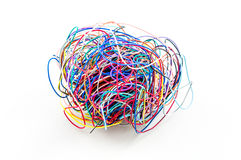 A ball of colourful cables i Royalty Free Stock Image