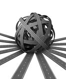 Ball of Confusion. And difficult problems searching for solutions and success with many roads merging together into a pile of complicated directions requiring Stock Photo