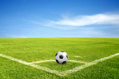 A ball on corner of football field Royalty Free Stock Images