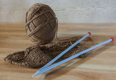 Ball of cotton & knitting work Royalty Free Stock Image