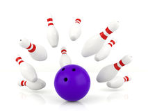 Ball crashing into the bowling pins. 3D bowling ball crashing into the bowling pins on white background, successful concept Stock Images