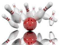 Ball crashing into the bowling pins. Strike - ball crashing into the bowling pins,  on a white background. Made in 3d Stock Photos
