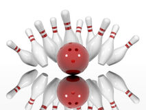 Ball crashing into the bowling pins. Strike - ball crashing into the bowling pins,  on a white background. Made in 3d Stock Photo