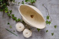 Ball of cream and blue yarn with crochet hook Stock Photography