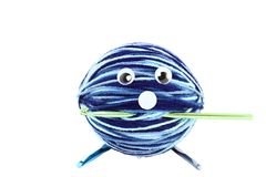 Ball Of Crochet Yarn With Funny Face Stock Images