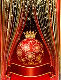Ball with crown. Vector abstract composition on stage royalty free illustration
