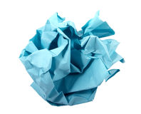 Ball of crumpled blue paper. Royalty Free Stock Images