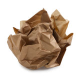 Ball of crumpled brown paper. Ball of crumpled brown kraft paper, isolated on white stock photos