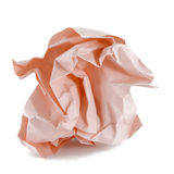 Ball of crumpled pink paper Stock Images