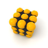 Ball cube. Abstract object in the shape of a cube with inserted yellow spheres Stock Photos