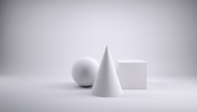 Ball, cube and cone. 3d render of a gray background Royalty Free Stock Photos