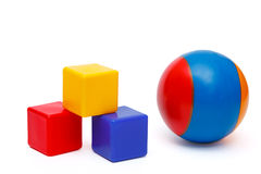 Ball and cubes Stock Images