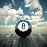 8 ball 3d illustration. The 8 ball game illustrated in 3d stock illustration