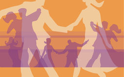 Ball_dancing_couples. Silhouettes of  dancing couples at the ball. Vector illustration Royalty Free Stock Photography